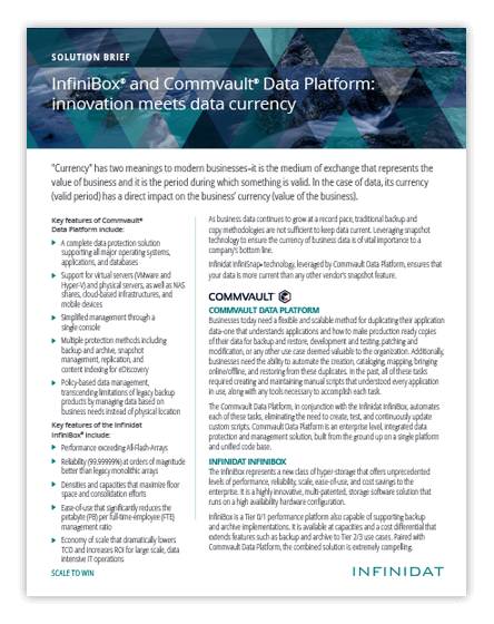 InfiniBox and Commvault® Data Platform: Innovation Meets Data Currency
